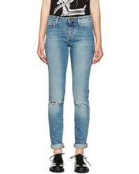 Saint Laurent Light Blue Ripped Skinny Jeans