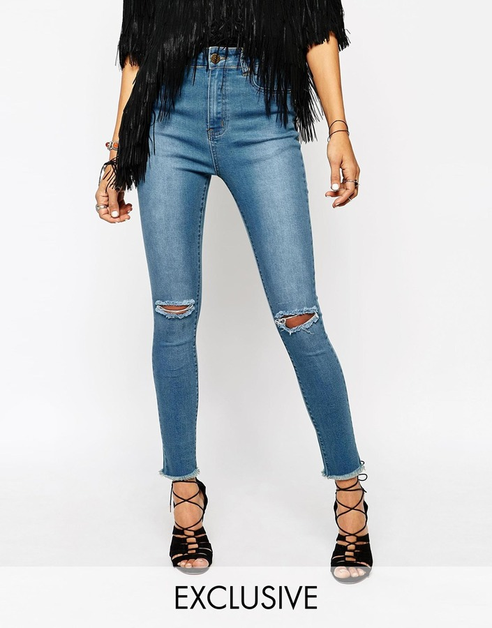 6518eb2428f8 ... N. Liquor N Poker Liquor Poker High Rise Ankle Skinny Jeans With Ripped  Knee Raw ...