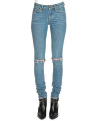 Saint Laurent Low Rise Distressed Skinny Jeans
