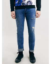Topman Mid Wash Rip And Repair Classic Skinny Fit Jeans