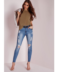 Missguided High Waisted Marbled Skinny Jeans Light Blue