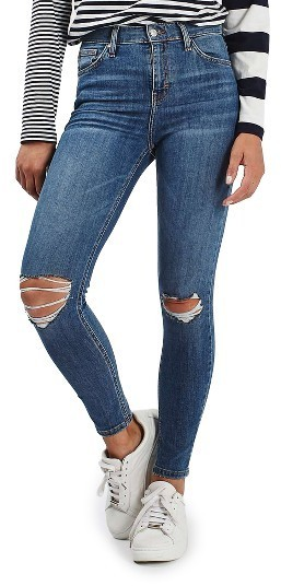 Topshop Moto Jamie Ripped High Waist Ankle Skinny Jeans