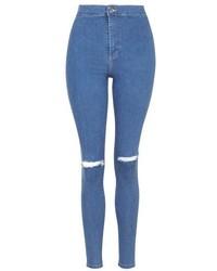 Topshop Moto Pretty Blue Ripped Joni Jeans