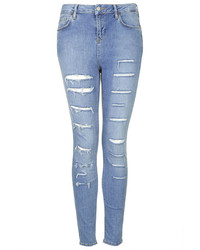 Topshop Moto Salt And Pepper Ripped Jamie Jeans