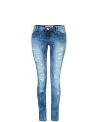 Parisian New Look Blue Ripped Skinny Jeans