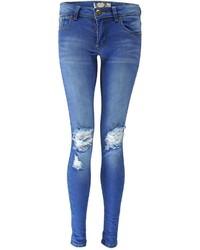Boohoo Petite Loren Distressed Rip Knee Skinny Jeans