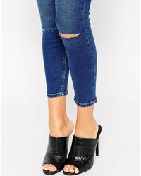 Asos Petite Whitby Low Rise Skinny Jeans In Maxim Blue With Displaced Ripped Knees
