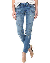 Balmain Pierre Zipper Detail Distressed Skinny Jeans In Blue Jeans