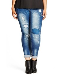 City Chic Plus Size Patched Up Distressed Skinny Jeans