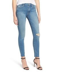 MOTHE R The Looker Frayed Ankle Skinny Jeans