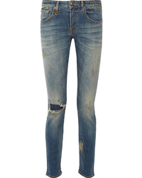 R 13 R13 Alison Distressed Mid Rise Skinny Jeans