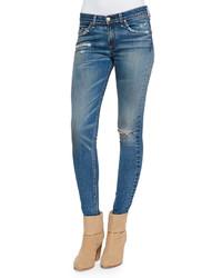 Rag and Bone Rag Bonejean Brunswick Distressed Skinny Jeans Blue