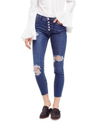 Free People Reagan Destroyed Crop Skinny Jeans