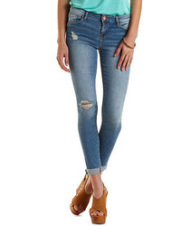 Charlotte Russe Refuge Boyfriend Medium Wash Destroyed Jeans