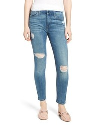 Jen7 Ripped Ankle Skinny Jeans