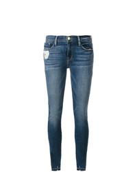 Frame Denim Ripped Cuff Skinny Jeans