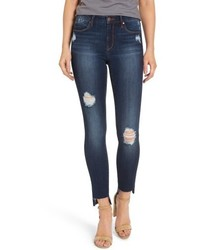 Ripped step hem skinny jeans medium 5169740