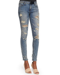 Rta Denim Distressed Skinny Ankle Jeans Destroyed Soil