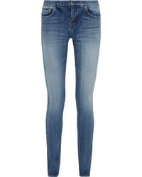 Saint Laurent Distressed Low Rise Skinny Jeans Mid Denim