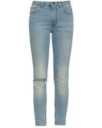 Saint Laurent High Rise Distressed Skinny Jeans