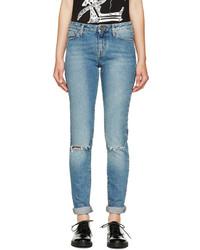 Saint Laurent Light Blue Ripped Skinny Jeans