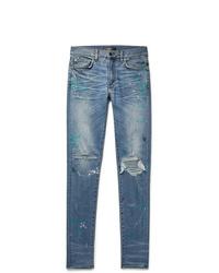 Amiri Skinny Fit Distressed Paint Splattered Stretch Denim Jeans