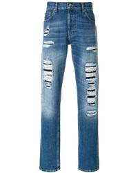 Alexander McQueen Straight Leg Distressed Jeans