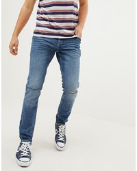 Esprit Stretch Skinny Fit Jeans In Vintage Wash Blue With Knee Rips