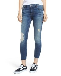SWAT FAME Sts Blue Ripped Cutoff Crop Skinny Jeans