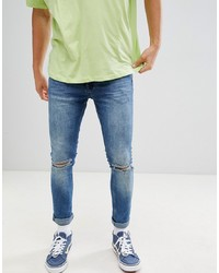 YOURTURN Super Skinny Jeans With Knee Rips In Midwash Blue