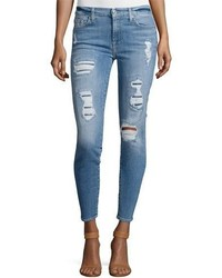 7 For All Mankind The Ankle Skinny Destroyed Jeans Wsequins Light Blue