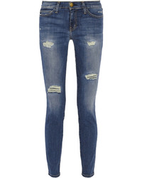 Current/Elliott The Ankle Skinny Distressed Mid Rise Jeans