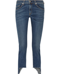 Rag & Bone The Capri Distressed Mid Rise Skinny Jeans Blue