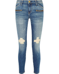 Current/Elliott The Stiletto Biker Distressed Low Rise Skinny Jeans