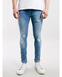 Topman Bleach Wash Ripped Spray On Skinny Jeans