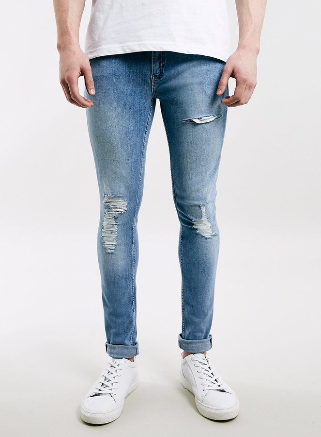 Topman Bleach Wash Ripped Spray On Skinny Jeans | Where to buy ...