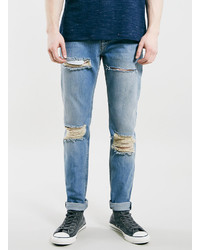 Topman Light Blue Blow Out Knee Classic Skinny Jeans