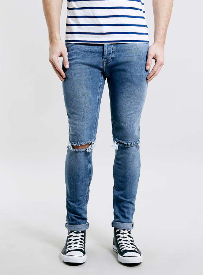 Topman Light Wash Blue Ripped Stretch Skinny Jeans | Where to buy ...
