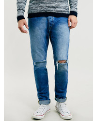 Topman Ltd Blue Ripped Skinny Jeans