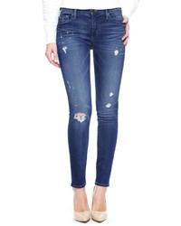 True Religion Halle Mid Rise Super Skinny Ripped Jean