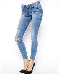 Asos Whitby Low Rise Ankle Grazer Jeans In Venice Mid Wash Blue With Ripped Knee Venice Blue