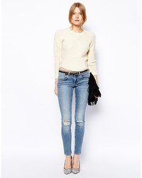 Asos Whitby Low Rise Skinny Jeans In Columbia Light Wash Blue With Ripped Knees