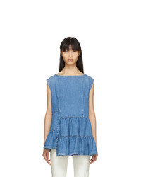 MM6 MAISON MARGIELA Blue Denim Tiered Ruffle Blouse