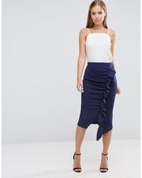 Asos Longer Length Scuba Pencil Skirt With Ruffle Detail