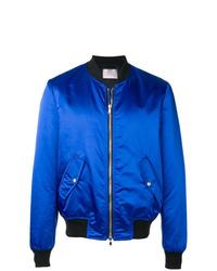 Blue Satin Bomber Jacket