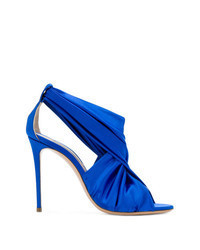 Blue Satin Heeled Sandals