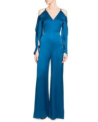 Roland Mouret Soham Satin Cold Shoulder Jumpsuit