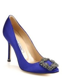 Blue Satin Pumps