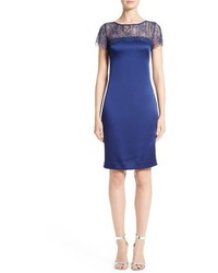 St. John Collection Lace Satin Crepe Sheath Dress