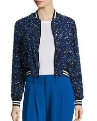 Alice + Olivia Lonnie Cropped Bomber Jacket